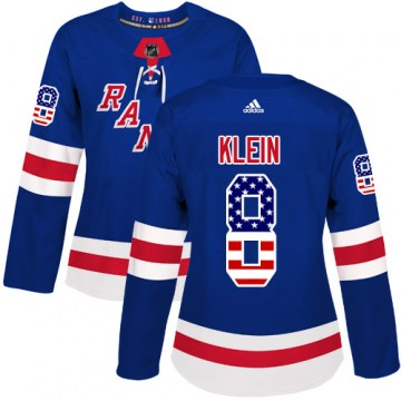 Adidas New York Rangers Women's Kevin Klein Authentic Royal Blue USA Flag Fashion NHL Jersey