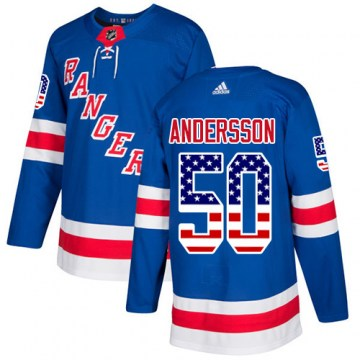 Adidas New York Rangers Men's Lias Andersson Authentic Royal Blue USA Flag Fashion NHL Jersey
