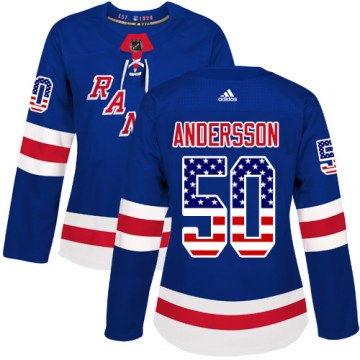 Adidas New York Rangers Women's Lias Andersson Authentic Royal Blue USA Flag Fashion NHL Jersey