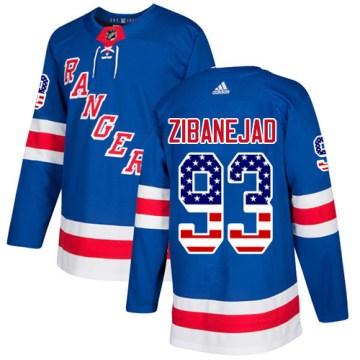 Adidas New York Rangers Men's Mika Zibanejad Authentic Royal Blue USA Flag Fashion NHL Jersey