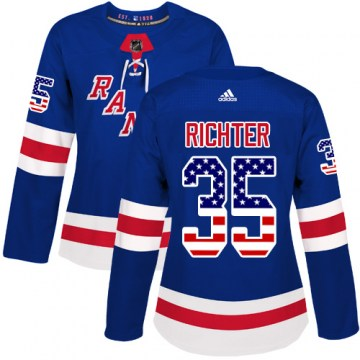Adidas New York Rangers Women's Mike Richter Authentic Royal Blue USA Flag Fashion NHL Jersey