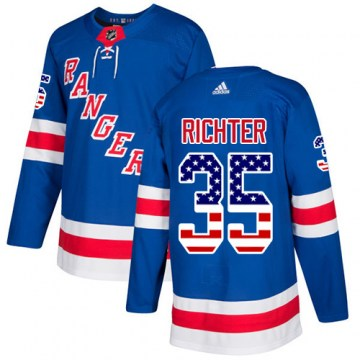 Adidas New York Rangers Youth Mike Richter Authentic Royal Blue USA Flag Fashion NHL Jersey