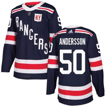 Adidas New York Rangers Men's Lias Andersson Authentic Navy Blue 2018 Winter Classic NHL Jersey