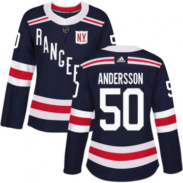 Adidas New York Rangers Women's Lias Andersson Authentic Navy Blue 2018 Winter Classic NHL Jersey
