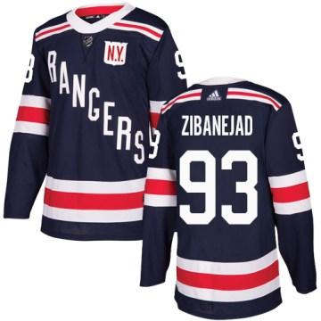 Adidas New York Rangers Men's Mika Zibanejad Authentic Navy Blue 2018 Winter Classic NHL Jersey