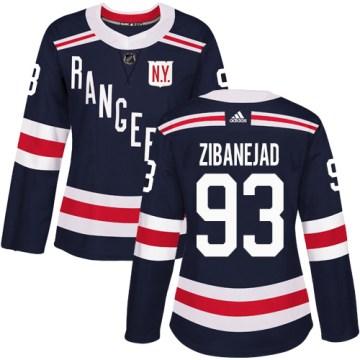 Adidas New York Rangers Women's Mika Zibanejad Authentic Navy Blue 2018 Winter Classic NHL Jersey